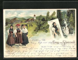 Lithographie Schwarzwälderin, Gutacherin, Markgräflerin und St. Georgerin in Tracht