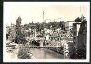 Foto-AK Cham, Erweiterung der Papierfabrik 1959, Bauarbeiten
