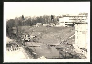Foto-AK Cham, Erweiterung der Papierfabrik 1959, Beginnende Bauarbeiten