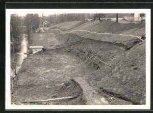 Foto-AK Cham, Erweiterung der Papierfabrik 1959, Beginn der Bauarbeiten