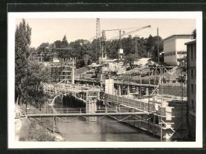 Foto-AK Cham, Erweiterung der Papierfabrik 1959, Bauarbeiten in vollem Gange