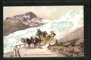 Künstler-AK Postkutsche auf der Furkastrasse mit Blick auf den verschneiten Rhonegletscher