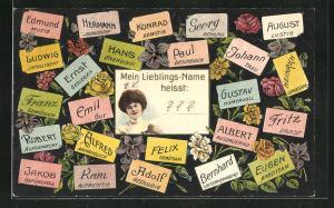 Präge-AK Namenstag, verschiedene Vornamen mit dazugehörigenen Eigenschaften, Damenportrait
