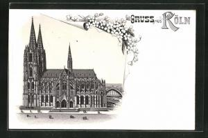 Lithographie Passanten vor dem Kölner Dom