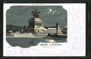 Mondschein-Lithographie Coblenz, Kaiser Wilhelm-Denkmal