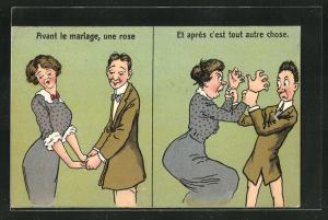 AK frauenfeindlicher Humor, schüchternes Liebespaar, Frau wird zur Furie