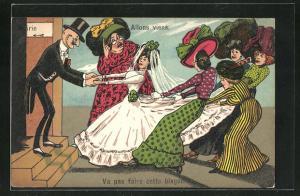 Künstler-AK frauenfeindlicher Humor, Damen zerren Braut vom Bräutigam weg