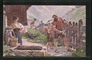 Künstler-AK Wilhelm Tell, Le pere Tell, defensuer de nos libertes