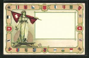 Präge-AK Helvetia mit Schwert und Schweizer Flagge, Wappen