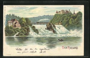 Lithographie Rheinfall, Eisenbahn auf der Brücke über den Wasserfall, Halt gegen das Licht