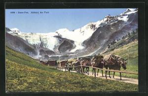 AK Saas-Fee, Abfahrt der Post, Beförderung mit Maultieren