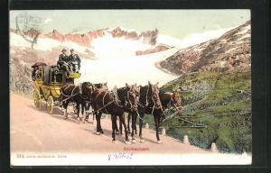 AK Postkutsche unterwegs in den Bergen, Grimselpost
