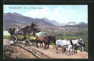 AK Grimselpasshöhe, Postkutsche unterwegs am Totensee
