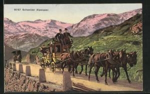 AK Postkutsche unterwegs in den Schweizer Alpen, Schweizer Alpenpost