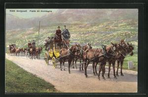 AK Postkutsche unterwegs in den Bergen, Bergpost