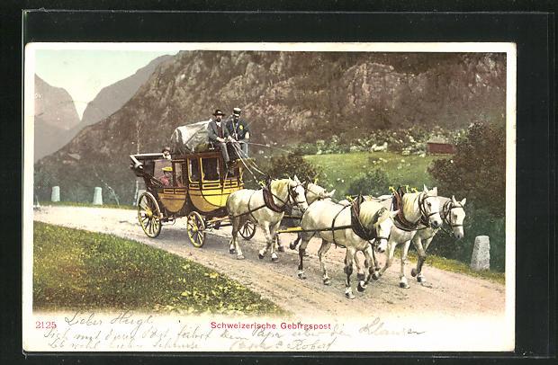 AK Schweizerische Gebirgspost, Postkutsche unterwegs in den Bergen 0