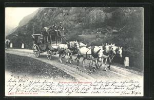 AK Postkutsche unterwegs im Gebirge, Schweizerische Gebirgspost
