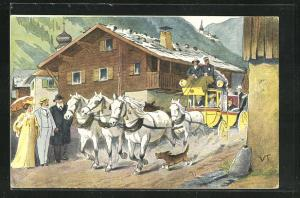 AK Postkutsche prescht durch ein Bergdorf