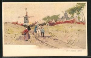 Künstler-AK Henri Cassiers: Le Village de Knocke, Blick zur Windmühle