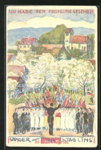 AK Ins, Sängerfest 25.5.1924, Chor singt im Park