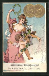 AK Lyss, Seeländisches Berzirksgesangfest 5.6.1904, Frau tanzt zum Musikspiel eines Engels