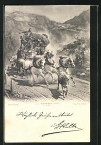 AK Gotthardpostkutsche prescht durch die Berge