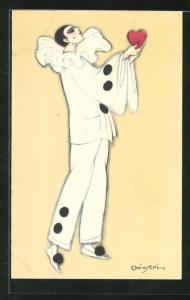 Künstler-AK Carlo Chiostri: Pierrot mit Herz, Harlekin