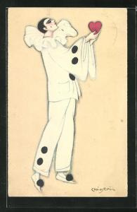 Künstler-AK Carlo Chiostri: Pierrot mit Herz, Karneval, Fasching