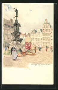 Künstler-Lithographie Henri Cassiers: Anvers, La Grand` Place