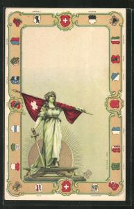 Präge-Lithographie Helvetia mit Fahne und Wappen der Kantone