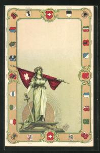 Präge-Lithographie Helvetia mit Fahne, Wappen der Kantone