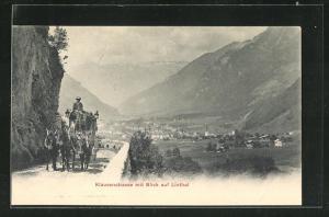 AK Postkutsche auf der Klausenstrasse mit Blick auf Linthal