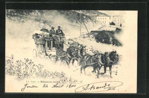 AK Schweizer Postkutsche beim Verlassen einer Ortschaft