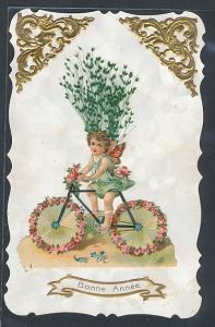 Trockenblumen-AK Kleiner Elf auf blumengeschmücktem Fahrrad und getrocknete Gräser