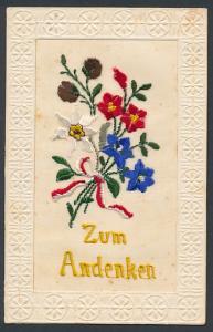 Seidenstick-AK Zum Andenken, Bunter Blumenstrauss