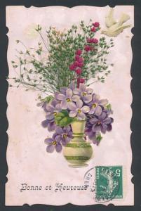 Trockenblumen-AK Blumenvase mit Veilchen und und getrockneten Gräsern