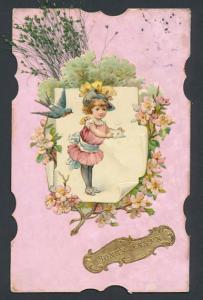Trockenblumen-AK Mädchen mit Grusskarte und getrocknete Gräser