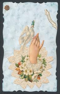 Oblaten-AK Weisse Taube auf zarter Frauenhand