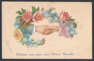 Oblaten-AK Mann und Frau halten sich an den Händen, umkränzt von Blumen