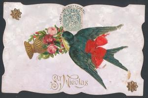 Oblaten-AK St. Nicolas, Schwalbe mit Korb voller Rosen im Schnabel
