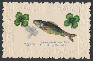 Oblaten-AK Grusskarte zum 1. April, Fisch und Glücksklee
