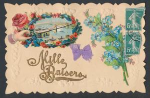 Oblaten-AK Mille Baisers, Brücke im Blumenkranz