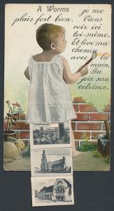 Leporello-AK Worms, Kleinkind mit Ansichten unterm Hemdchen, Porte Raschi, Kathedrale, Bahnhof