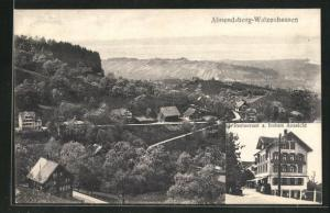 AK Almendsberg-Walzenhausen, Restaurant zur frohen Aussicht, Teilansicht mit Blick ins Land