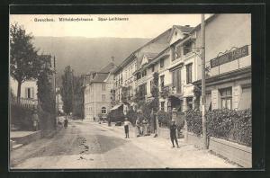 AK Grenchen, Mitteldorfstrasse mit Gasthof Central Halle und Spar-Leihkasse