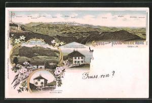 Lithographie Hundwil, Gasthaus Hundwiler Höhe, Alpenrose, Gebirgspanorama