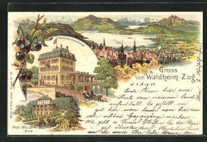 Lithographie Zug, Pension Waldheim, Villa Aug. Weiss-Hess, Gesamtansicht