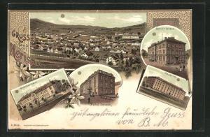 Lithographie Herisau, Krankenhaus, Hotel Löwen, Kaserne, Gemeindehaus, Totale