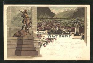 Lithographie Altdorf, Wilhelm Tell Denkmal, Totale mit Kirche