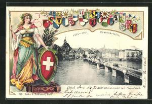 Präge-AK Basel, Rheinbrücke mit Grossbasel, verschiedene Kantonswappen